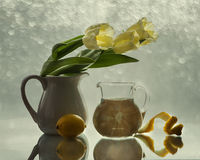 С тюльпанами и лимонами Стоковое Изображение RF