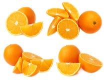Служат оранжевый состав изолированный над белой предпосылкой, комплект плодоовощ различных foreshortenings Стоковые Фотографии RF