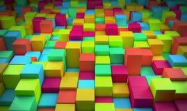 Абстрактные цветастые кубики Стоковая Фотография