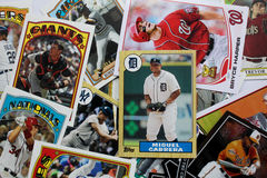 Случайная группа в составе бейсбольные карточки Стоковое фото RF
