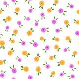 Случайно разбрасываемые малые цветки с листьями Покрашенная флористическая безшовная картина бесплатная иллюстрация