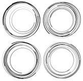 Случайные концентрические круги Комплект 4 элементов абстрактное monochrom Стоковая Фотография RF
