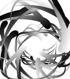 Случайные squiggly, curvy линии, абстрактная monochrome иллюстрация иллюстрация вектора