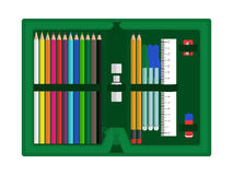 Случай карандаша с аксессуарами иллюстрация вектора