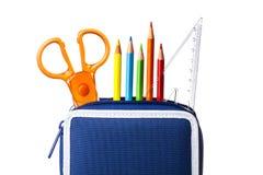 Случай карандаша Scissors изолированный правитель Стоковая Фотография