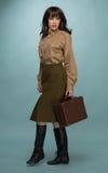 Случай нося костюма модной молодой женщины Стоковое фото RF