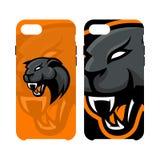 Случай телефона злющей концепции логотипа вектора спорта пантеры умный изолированный на белой предпосылке иллюстрация вектора