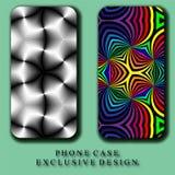 Случай телефона Mobil стиля Красивая радуга и Monochrome абстрактные картины кривых иллюстрация вектора