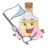 С флагом розовое масло полило внутри бутылку мультфильма иллюстрация вектора