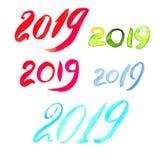2019 с щеткой 20 19 писем стоковые изображения