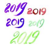 2019 с щеткой 20 19 писем стоковая фотография rf