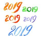 2019 с щеткой покрасило 20 19 писем стоковая фотография