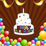 С днем рождения предпосылка с тортом и воздушным шаром Стоковые Фото