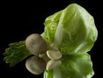 Сabbage, грибы, чеснок и спаржа Стоковое фото RF