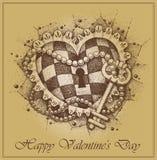 ?ard de Saint-Valentin. Coeur avec la clé dessiné à la main illustration libre de droits