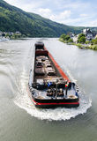 Ð¡argo ship on the river Moselle. Germany. Royalty Free Stock Images