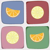 Сheckered pattern with orange and lemon Stock Photography