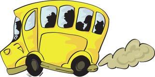 ?heerful jaunissent l'autobus avec des passagers sur W d'isolement illustration de vecteur