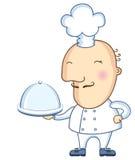 Сhef και πιάτο. Διανυσματικό άτομο κουζινών που απομονώνεται στο λευκό Στοκ φωτογραφίες με δικαίωμα ελεύθερης χρήσης