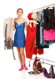 Сhoosing klänningar Fotografering för Bildbyråer