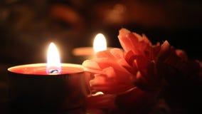 Сlose up świeczki i kwiat Obrazy Stock
