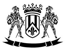 Ð¡oat of arms with knights Royalty Free Stock Images