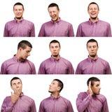?ollection das expressões masculinas da cara dos retratos foto de stock