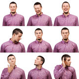 Сollection of portraits male face expressions Stock Photo