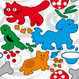 Ð¡olored colorful spots depicting Pets, seamless pattern. Colored colorful spots depicting Pets, seamless background for baby cloth or rug royalty free illustration
