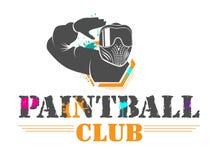 Сolorful paintball sporta klubu logotyp Mężczyzna w pełnym wyposażeniu z zabarwiającymi maskowymi salutami Projekt dla druku, sie ilustracja wektor