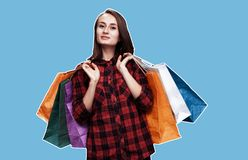 Woman with shoping bags. Ð¡ommerce and shopping season. Happy young woman with shoping bags. Magazine style collage with copy space stock photos