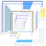 Ð¡omposition with colored rectangles and points stock illustration