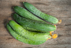 Ð¡ucumbers on wooden table Royalty Free Stock Photography