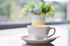 Ð¡up of coffee on table in cafe ,Morning light. Image stock image