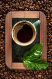 Ð¡up of espresso on the chalkboard and coffee beans in a vintage style Stock Photos