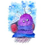 Сute watercolor purple furry alien with tape recorder on the blue background stock illustration