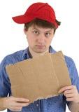 таблетка красного цвета человека бейсбольной кепки Стоковое Изображение