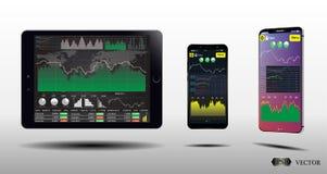 Таблетка, умные экраны телефона с финансовыми диаграммами и диаграммы Установите Infographics EPS10 Стоковые Фотографии RF