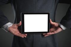 таблетка человека компьютера дела стоковое изображение rf