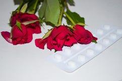 Таблетки с цветками роз стоковые фото
