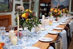 таблица банкета сервировки для обедающего Стоковое Изображение RF