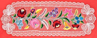 таблица венгра вышивки ткани Стоковая Фотография
