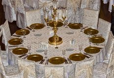 Таблица гостя свадьбы в процессе получать готовый для ev стоковая фотография rf