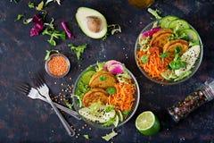 Таблица еды обедающего шара Будды Vegan еда здоровая Здоровый шар обеда vegan Оладь оладь с чечевицами и редиской, авокадоом, sal Стоковые Фотографии RF