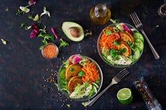 Таблица еды обедающего шара Будды Vegan еда здоровая Здоровый шар обеда vegan Оладь оладь с чечевицами и редиской, авокадоом, sal Стоковая Фотография RF