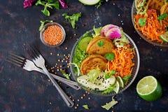 Таблица еды обедающего шара Будды Vegan еда здоровая Здоровый шар обеда vegan Оладь оладь с чечевицами и редиской, авокадоом, sal Стоковое Изображение