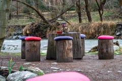 Таблица и стулья сделанные из журналов дерева, с красочными валиками на каждых журнале/стуле, около реки Концепция для пикников,  стоковое фото