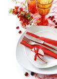 таблица красного цвета украшения Стоковая Фотография RF