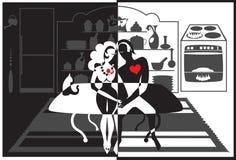 таблица кухни пар романтичная иллюстрация вектора