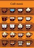 Таблица меню кофе Стоковая Фотография
